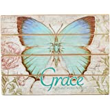 "Botanic Butterfly Blessings ""Grace"" Wooden Wall Plaque - Ephesians 2:8"