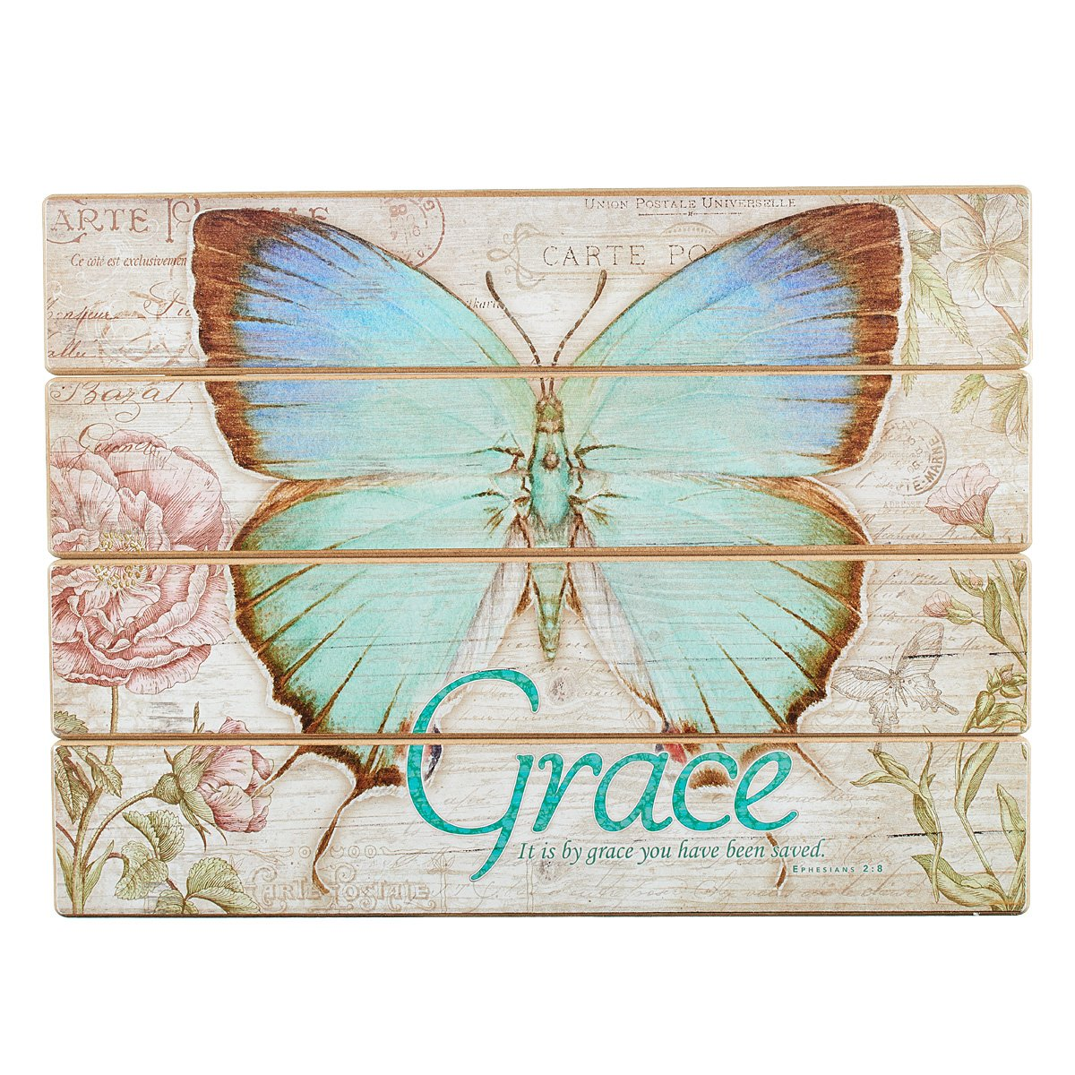Botanic Butterfly Blessings ''Grace'' Wooden Wall Plaque - Ephesians 2:8