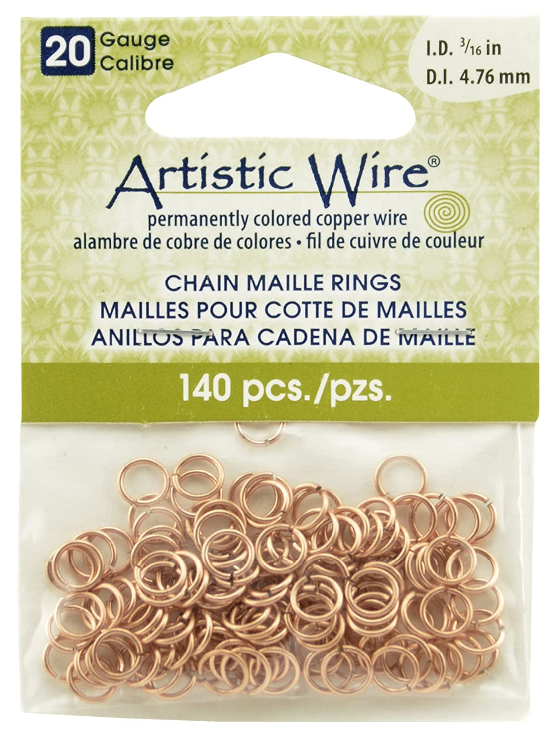 Artistic Wire Beadalon 3/16-inch 140 Piece 20-Gauge Natural Chain Maille Rings A314-20-10-08