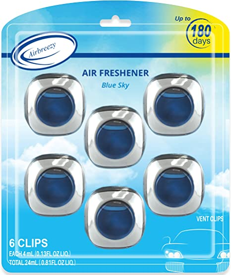 Longest Lasting Car Air Freshener >> Airbreezy Car Air Freshener 6 Car Freshener Vent Clips 4ml Each Long Lasting Car Fragrance Up To 180 Days Blue Sky New Car Scents