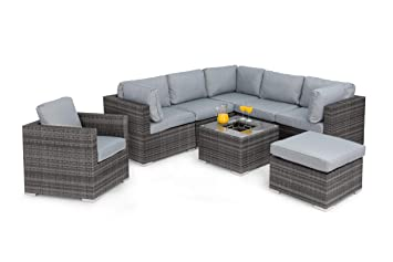 Rattan London Rattan Wicker Outdoor Corner Sofa Set With Chair With