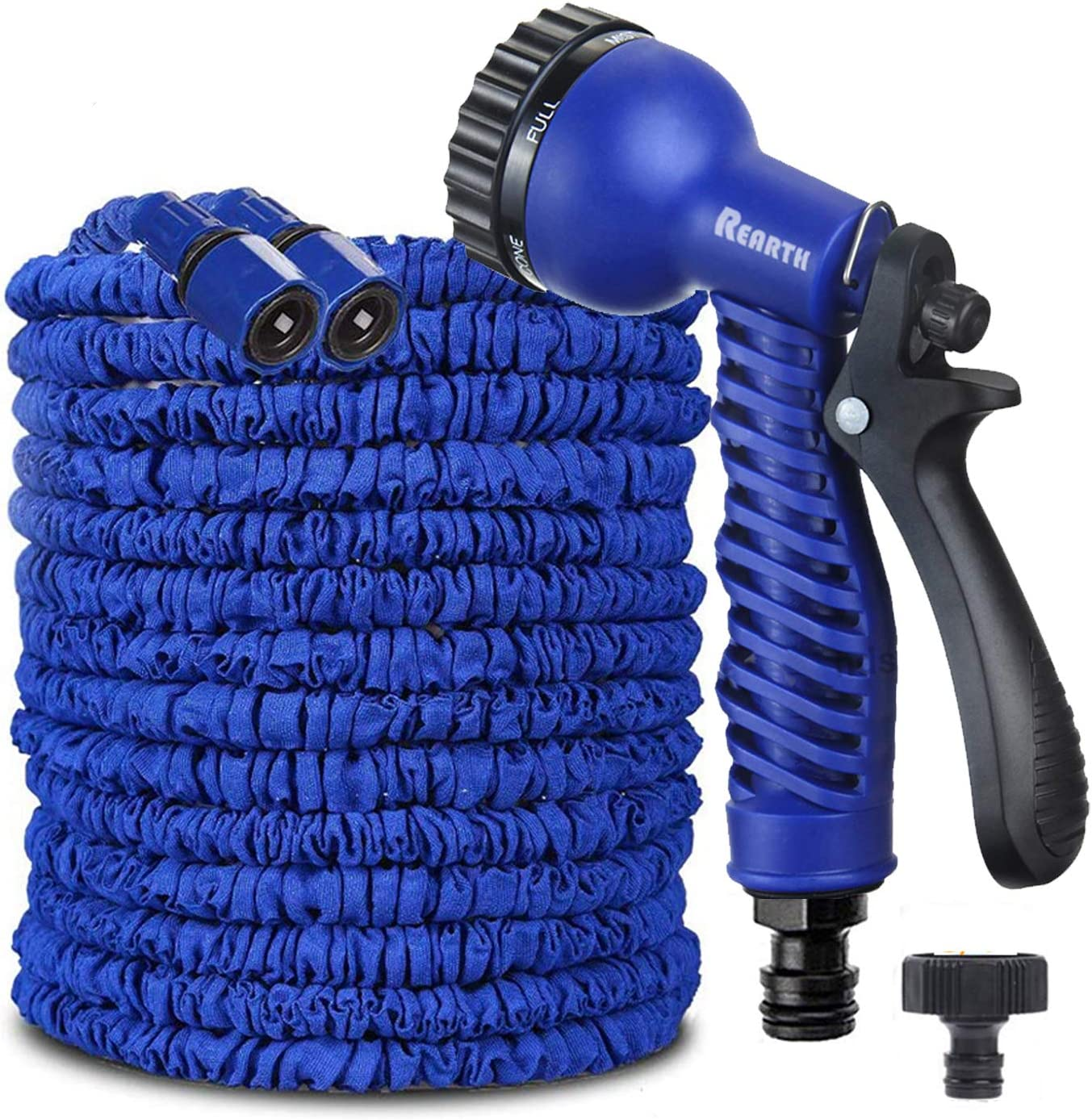 """REARTH Magic Stretch Flexible Expandable 3 x Expanding Garden Hose Pipe Natural Triple Layer Light Weight Non Kink with 3/4"""" Solid Fittings & 7 Setting Professional Water Spray Nozzle (100 FT)"""