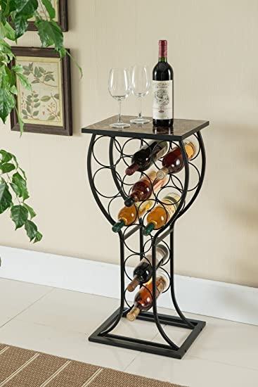 Amazon Com Kings Brand Furniture Metal With Marble Finish Top Wine Storage Organizer Display Rack Table Kitchen Dining