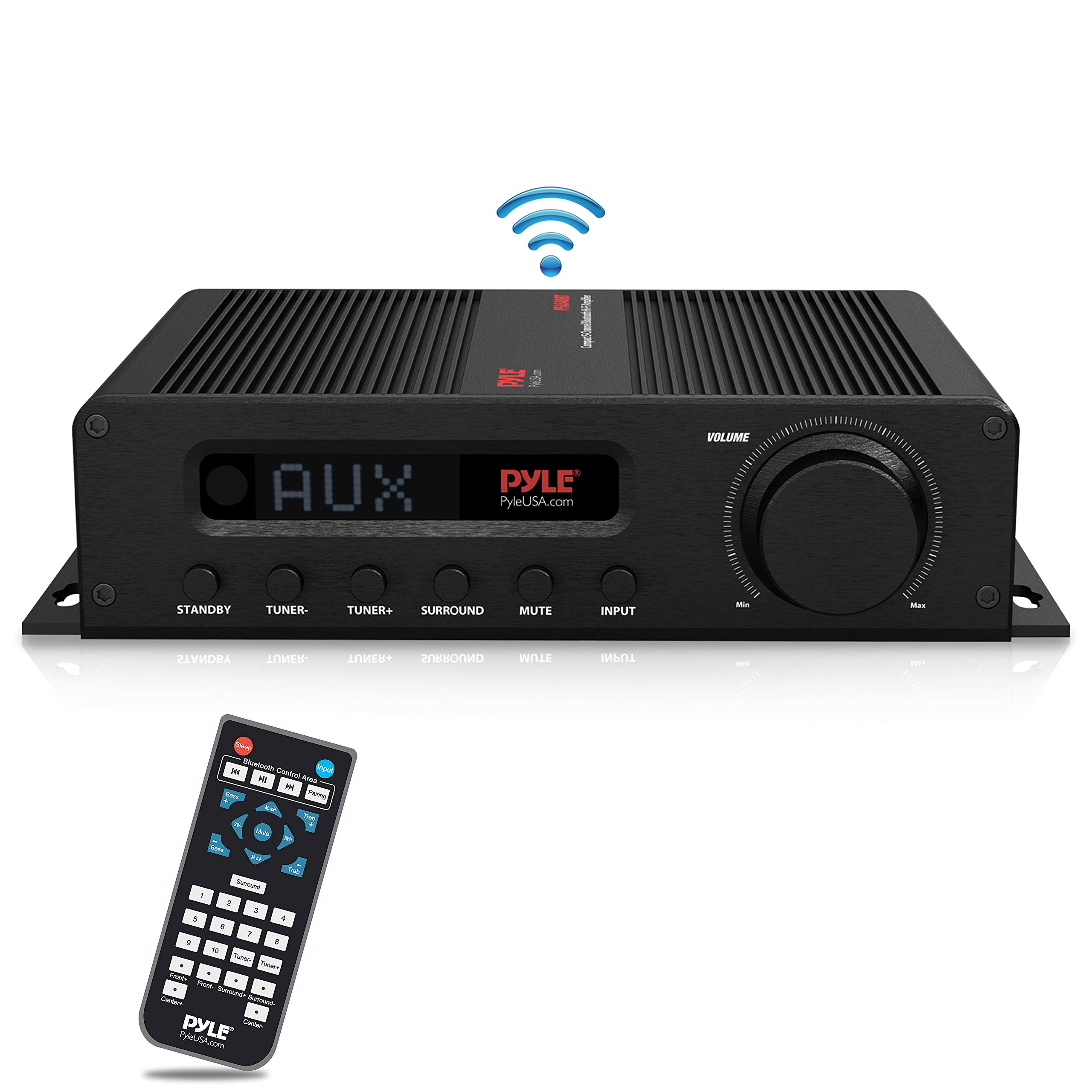Wireless Bluetooth Home Audio Amplifier - 100W 5 Channel Home Theater Power Stereo Receiver, Surround Sound w/ HDMI, AUX, FM Antenna, Subwoofer Speaker Input, 12V Adapter - Pyle PFA540BT by Pyle