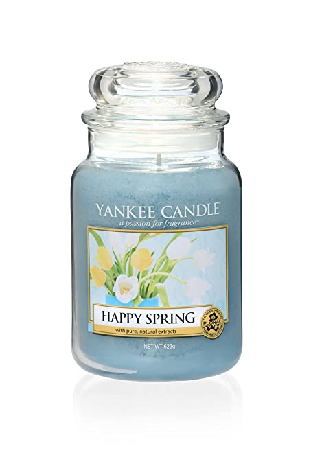 Yankee Candle Happy Spring Large Jar Candle, Blue, 10 1 x 9 8 x 14 7 cm
