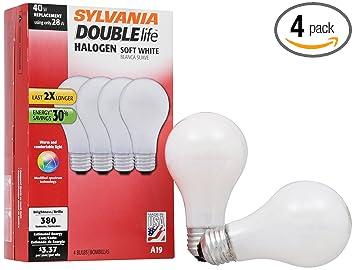 Sylvania Halogen Light Bulbs: SYLVANIA Halogen Lamp Double life / Dimmable Light Bulb A19 / Energy-saving  replacement for,Lighting