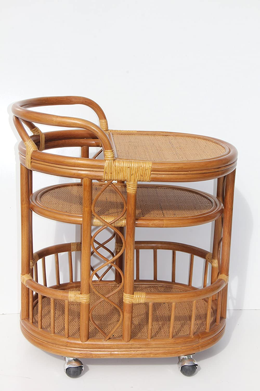Serving Cart Handmade Woven Natural Rattan Wicker with Wheels Light Brown