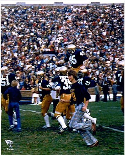 "64ce556dfa6 Rudy Ruettiger Notre Dame Fighting Irish Autographed 16"" x 20""  Celebration Photograph with"""