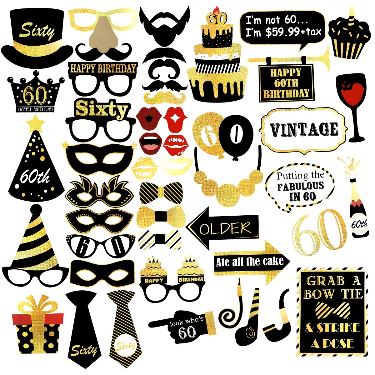 Unomor 60th Birthday Photo Booth Props for Gold and Black Birthday Party Supplies, Decorations and Favors - 48 pcs by Unomor