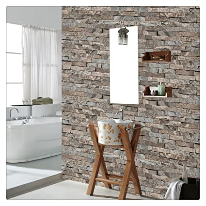 Haokhome 4203 Faux Stone Brick Wallpaper Lt Brown Grey Multi For