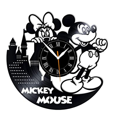 "Leooolukkin Mickey Mouse Vinyl Clock, Mickey Mouse Wall Clock 12"", Original Gifts for Fans Mickey Mouse, The Best Home Decorations: Home & Kitchen"