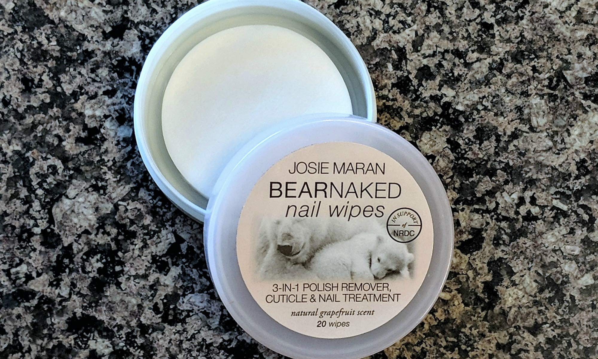 Josie Maran Bear Naked Nail Wipes - Remove Nail Polish and Hydrate Dry Cuticles (Grapefruit, 20 Wipes) by Josie Maran