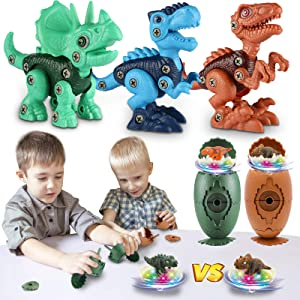 Laradola Dinosaur Toys for 3 4 5 6 7 8 Year Old Boys, Plastic Easter Eggs with Easter Toys Inside, Take Apart Dinosaur Toys for Kids 5-7 3-5 Easter Gifts for Boys and Girls