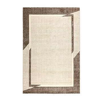 Tapis Moderne Style Frame - Gris ou Beige melange avec cadre   fibre ...