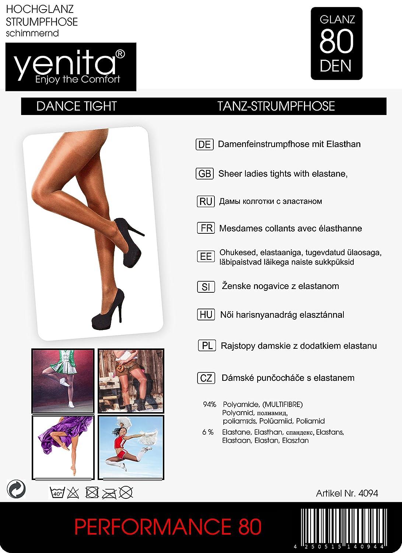 13d6d6dbdd8 Amazon.com  YENITA 2 Pack Silky Shimmery Dance Tights High Gloss 80 DEN   Clothing