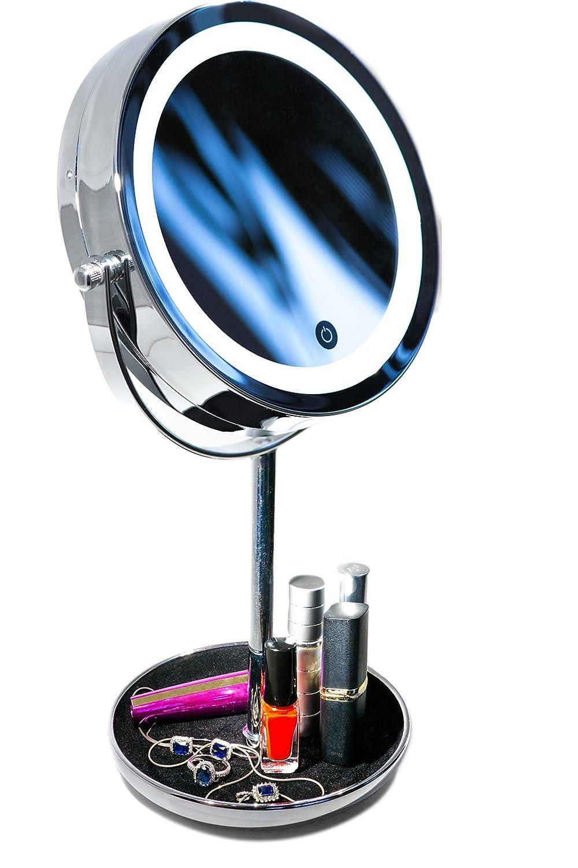 Miroir Cosmétique LED avec Grossissement 10X et Plateau Bijouterie - Luminosité Réglable - Finition Chrome, Construction Métal/Verre Podronix