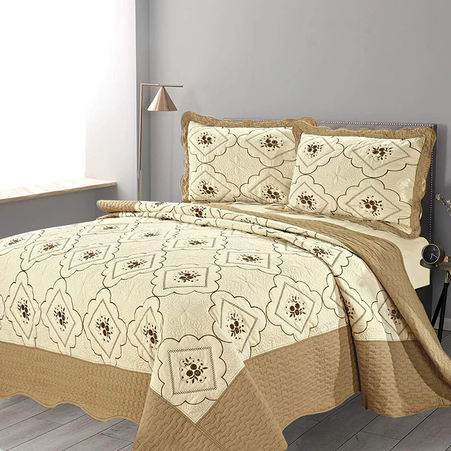 Blue Hafaa 3 Piece Bedding Set Double Bed Patchwork Embroidered Bedspread with 2 Pillow Shams