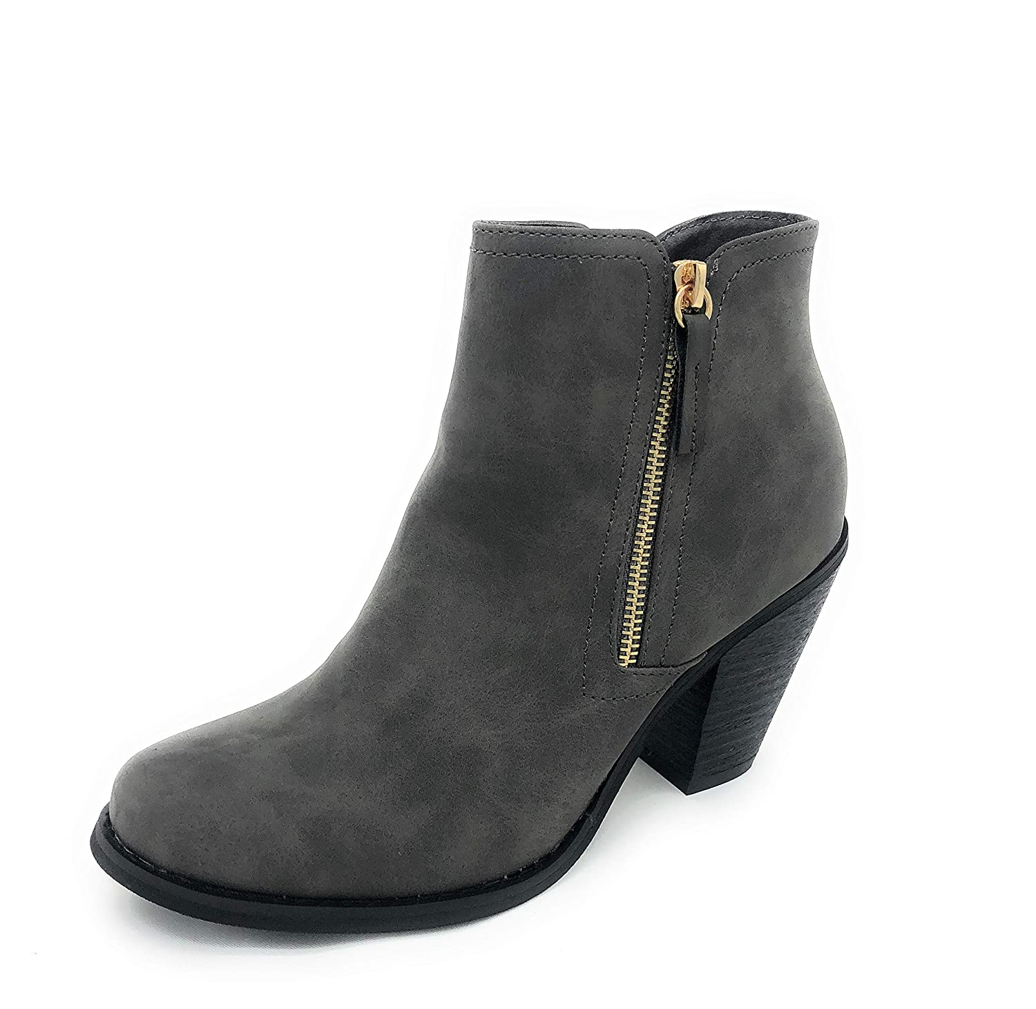 Grey-irene-08 SOLE COLLECTION Faux Leather Suede Strap Side Zipper Chunky Block Heels Dress Ankle Boots