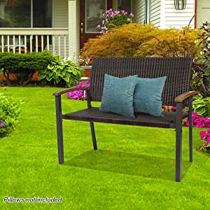 Patio Rattan Bench with Curved Backrest and Armrest, Outdoor Wicker Garden Chair Premium Quality Durable Loveseat Bench, Patio Furniture Ideal for Indoor,Patio, Porch or Balcony