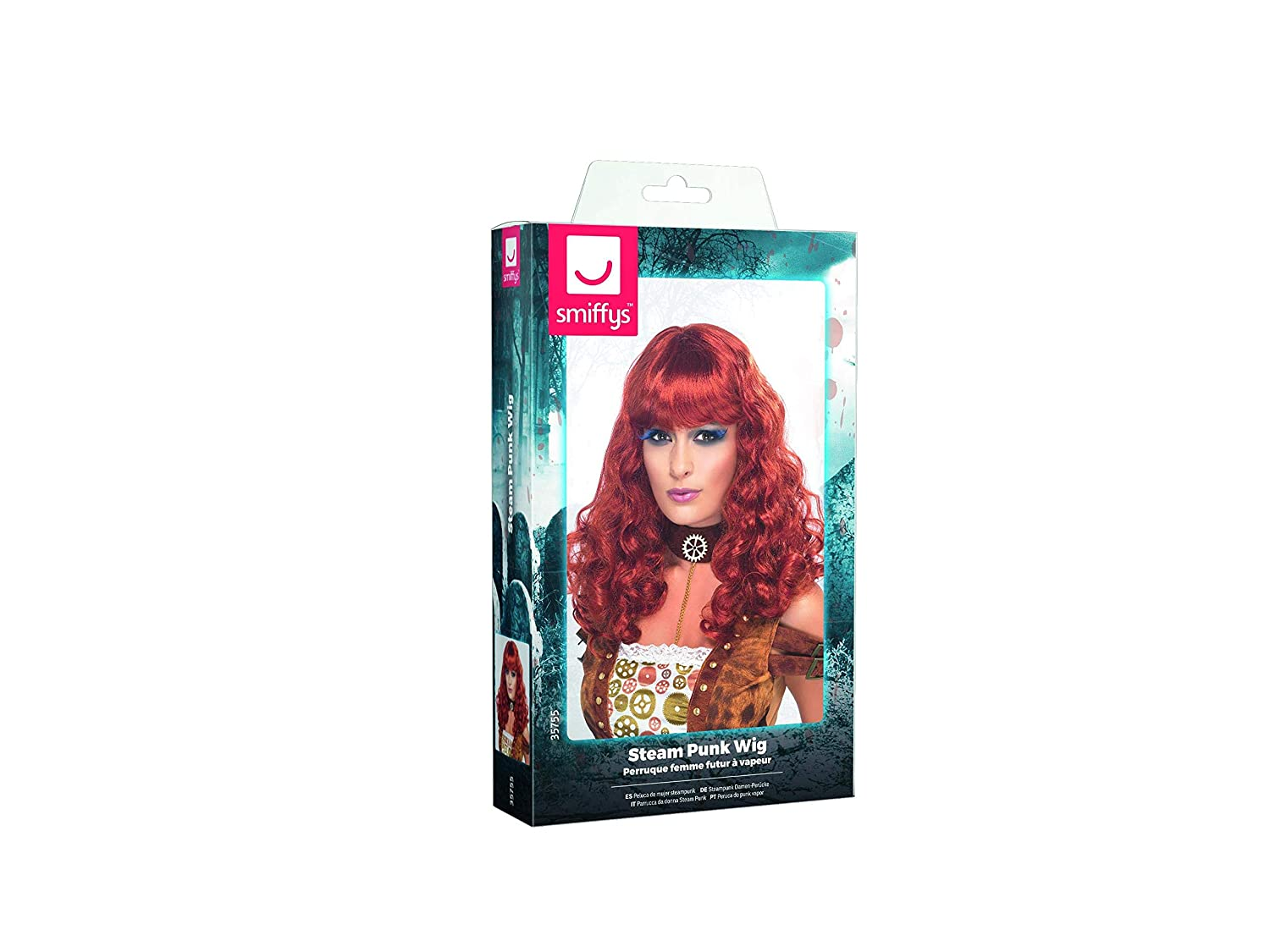 Amazon.com: Smiffys Womens Long and Curly Auburn Wig with Bangs, One Size, Steampunk Wig, 5020570357552: Clothing