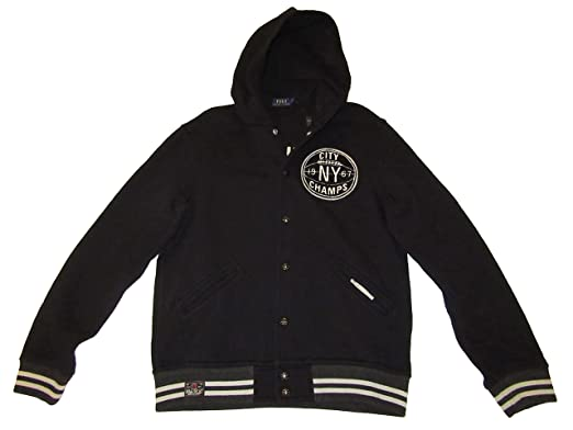 e11a7cb3c Polo Ralph Lauren Mens 1967 Brooklyn Basketball Patch Fleece Jacket Black  (X-Large)
