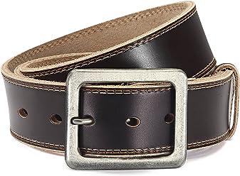 Eg-Fashion Stylischer Jeansgürtel Herren Büffelleder-Gürtel in 4,5 cm Breite - Ziernaht am Rand - Individuell kürzbar
