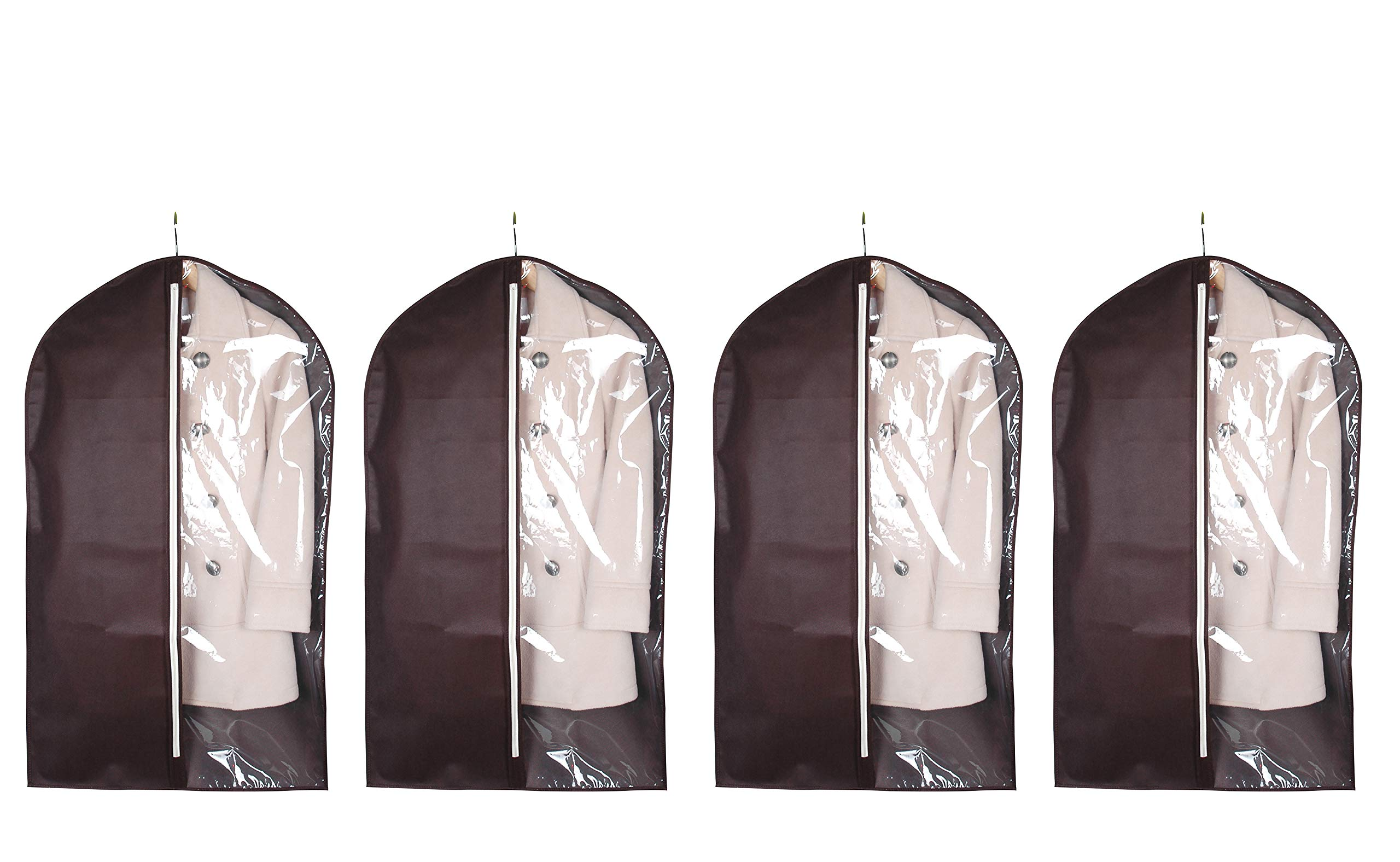 iTIDY Garment Cover-Suit Bags,Breathable Clothes Bags,Lightweight Clothing Dust Cover for Home Storage & Travel,Chocolate Colour with Practical Clear Window,Pack of 4
