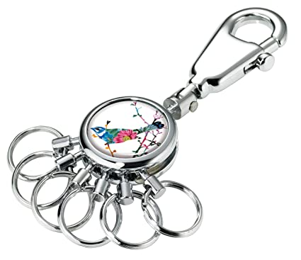 TROIKA BIRDIE – #KYR01-A117 – Keyring with carabiner hook – 6 exchangeable rings – metal– shiny – chrome plated – multicoloured – TROIKA-original