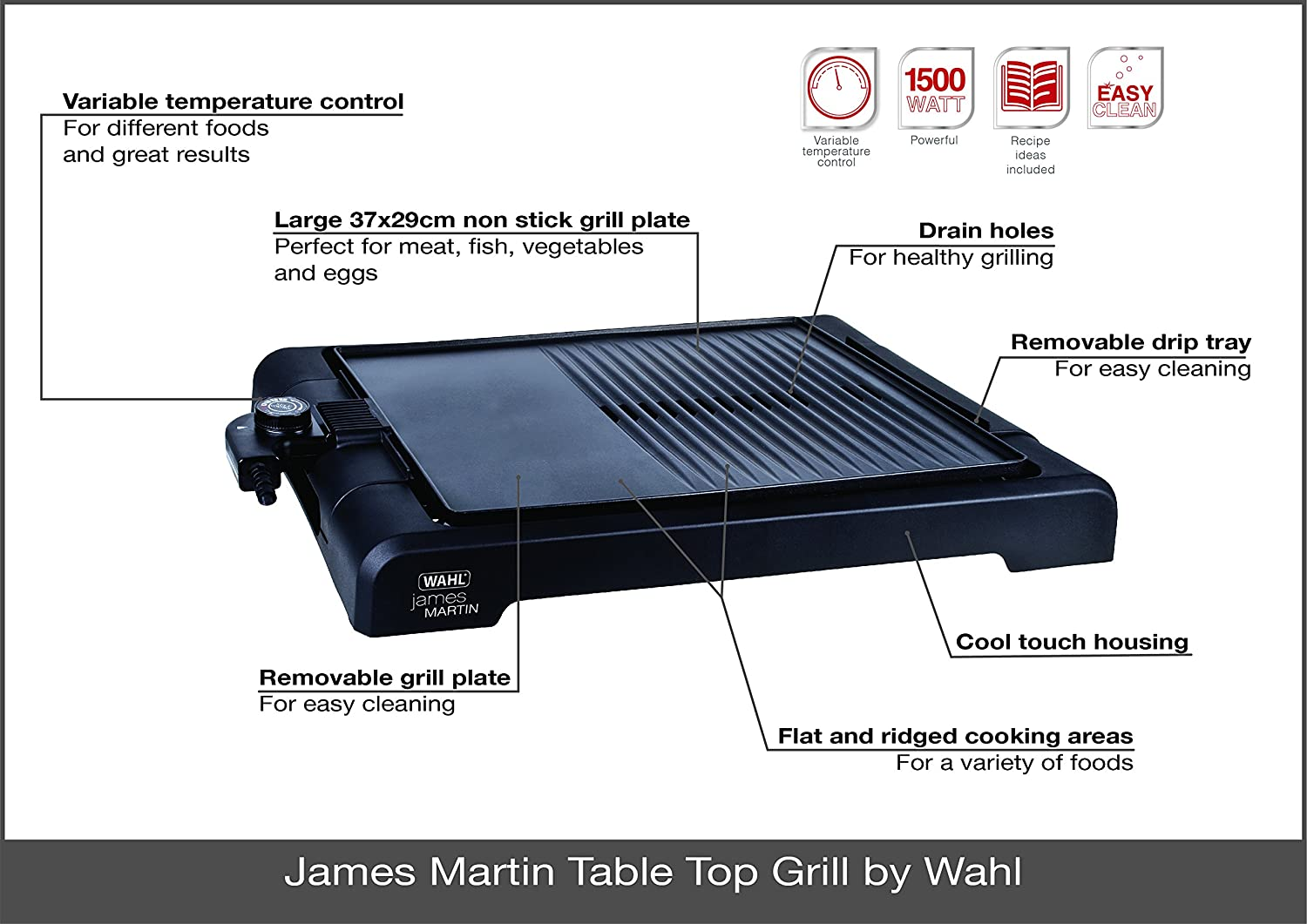 James Martin by Wahl ZX833Table Top Grill with Flat Plate