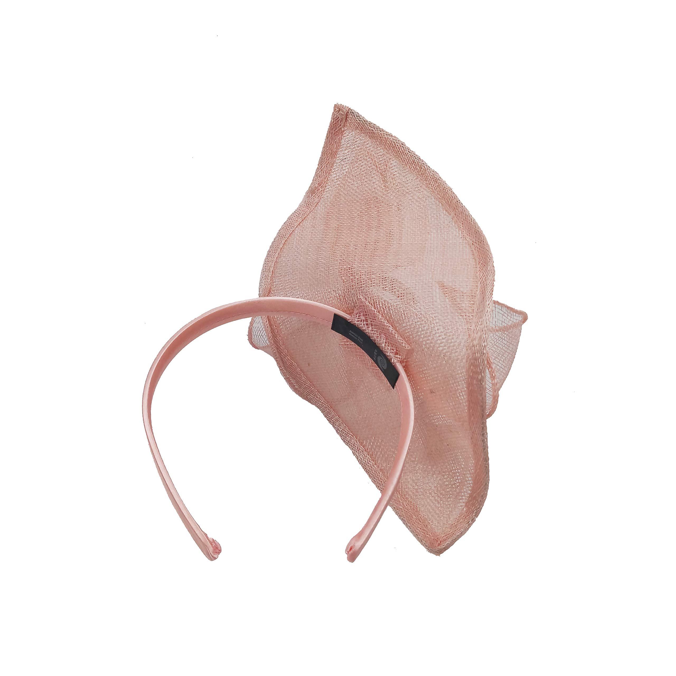 ABPF Sinamay Teardrop Fascinators Headband Hats Derby Racing Hat (Peach Pink) by ABPF (Image #4)