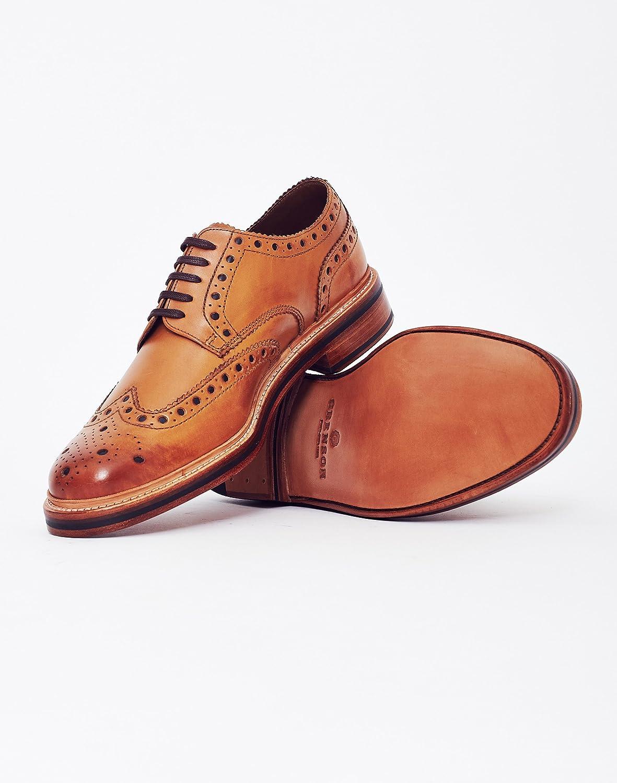 GRENSON - Herren- Schwarze Richelieu-Schuhe mit Rosette und weißer Sohle Tan Archie V für herren Tan Sohle Leder Sole f90b7b