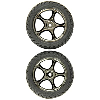 "Traxxas 2479A Anaconda Tires Pre-Glued on 2.2"" Black-Chrome Tracer Wheels, Bandit Front (pair): Toys & Games"