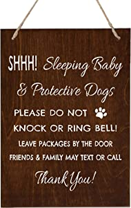 LifeSong Milestones Sleeping Baby Protective Puppies Baltic Birch Rope Hanging Sign for Front Door - Do Not Knock or Ring Doorbell - Quiet Entry for House New Home Decor - 8x10 (Walnut)