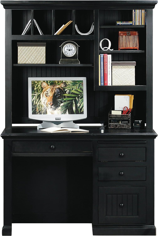 Eagle Furniture Manufacturing Coastal Single-Pedestal Desk & Hutch, Antique Black