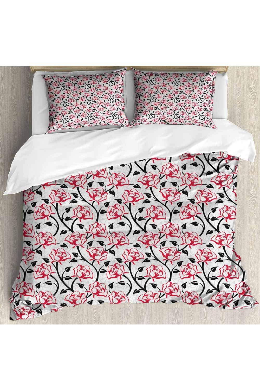 prunushome 3D Print Duvet Cover Set Romantic Roses Lovers Pattern Bedding Set Decorative Microfiber Polyester Comforter Cover, Quilt Cover Size - Queen(No Comforter Insert)