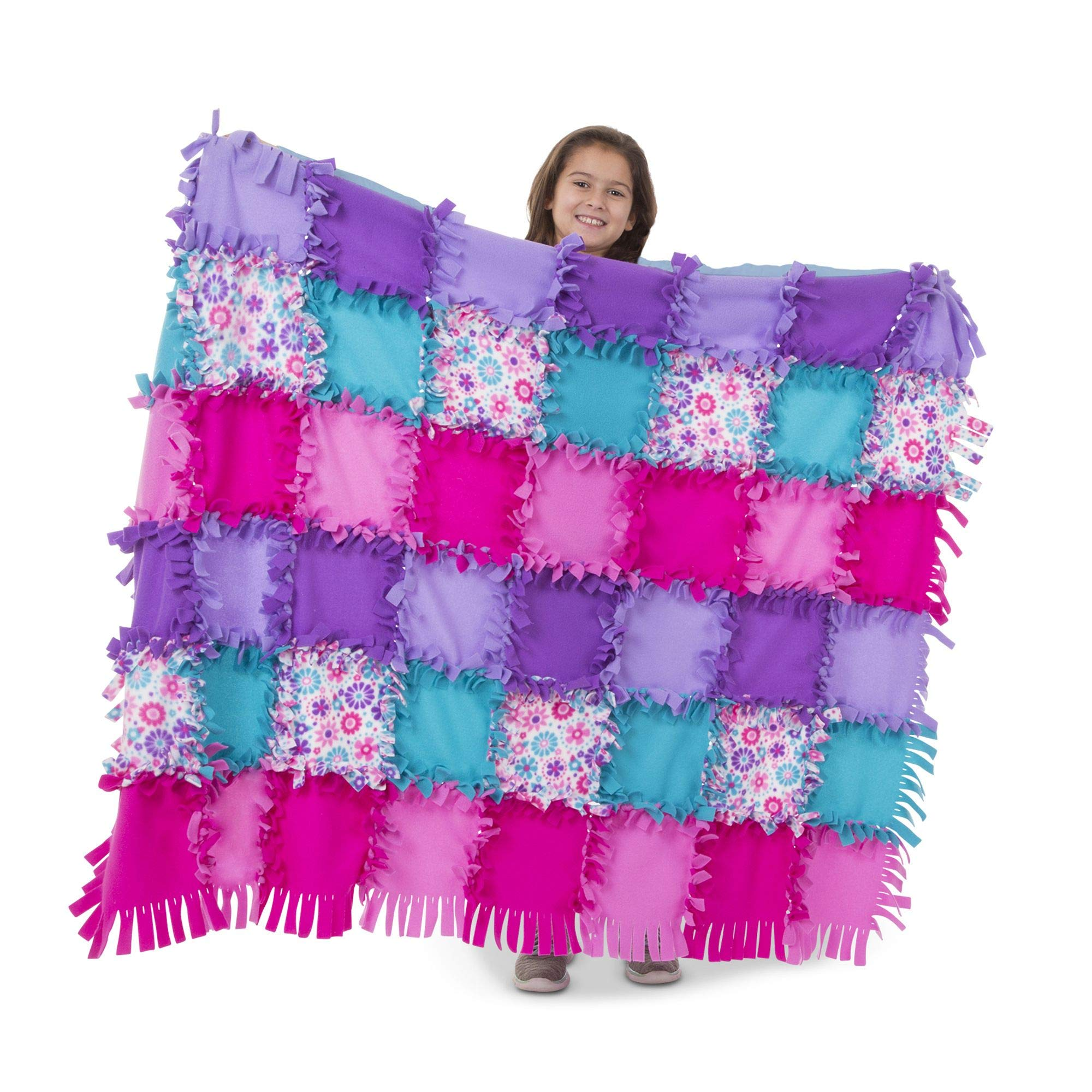Melissa & Doug Created by Me! Flower Fleece Quilt No-Sew Craft Kit (48 Squares), 4' x 5'