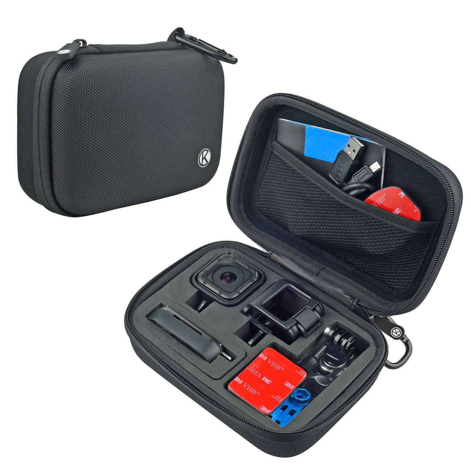 CamKix Camera and Accessory Case for GoPro HERO 5 / 4 Session Camera - Ideal for Travel or Storage - Complete Protection - Perfect Fit - Carabiner and Microfiber Cleaning Cloth (ONLY FOR HERO SESSION) by CamKix