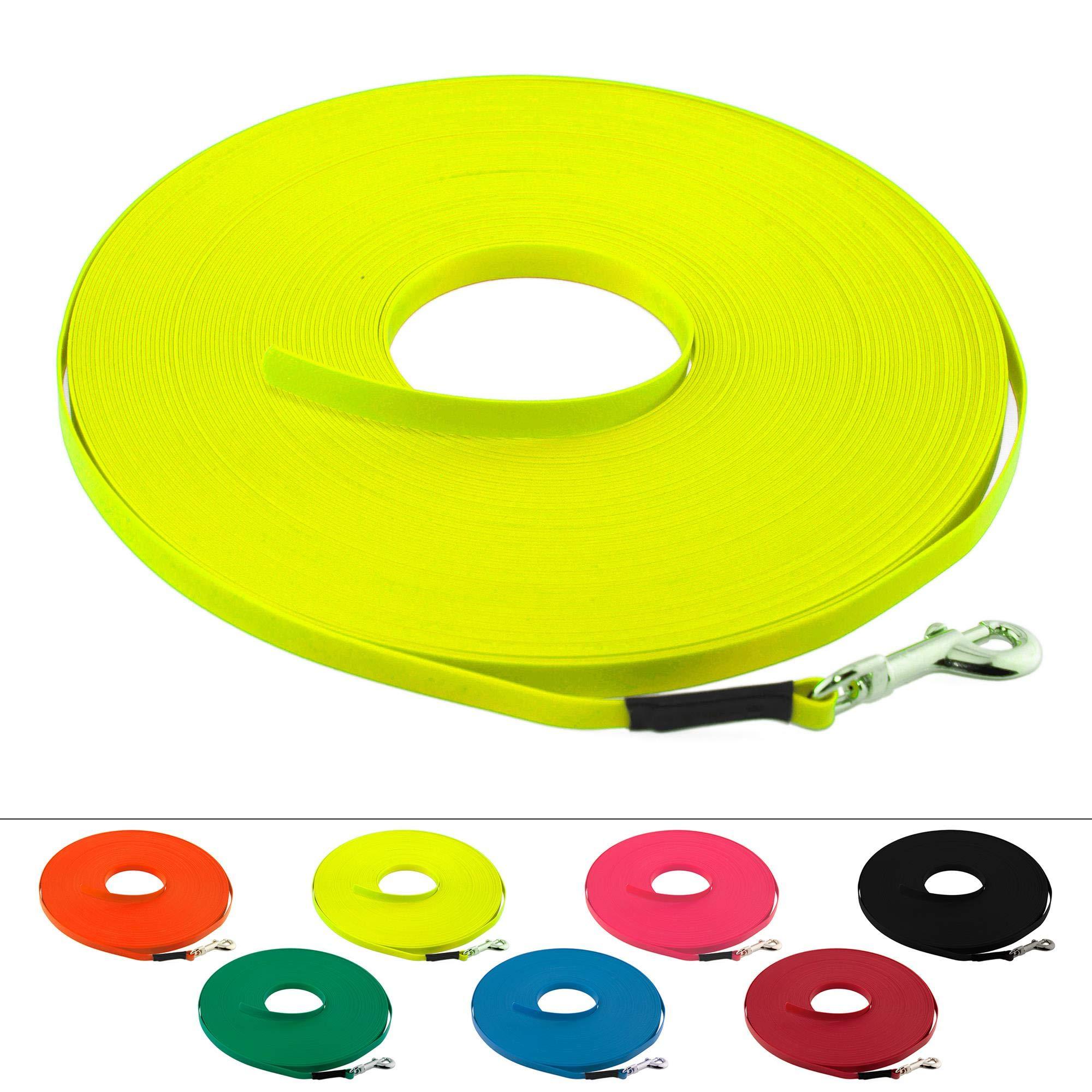Leichte BioThane Schleppleine für Hunde bis 5kg, 9 mm breit, ohne Handschlaufe, bis zu 60 Meter Länge, genäht, in vielen Farben product image