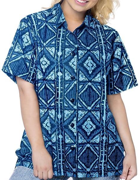 a482874bdd339 LA LEELA Cotton Boho Tunic Swim Floral Camp Shirt Blue 351|M - US 36 - 38D  at Amazon Women's Clothing store: