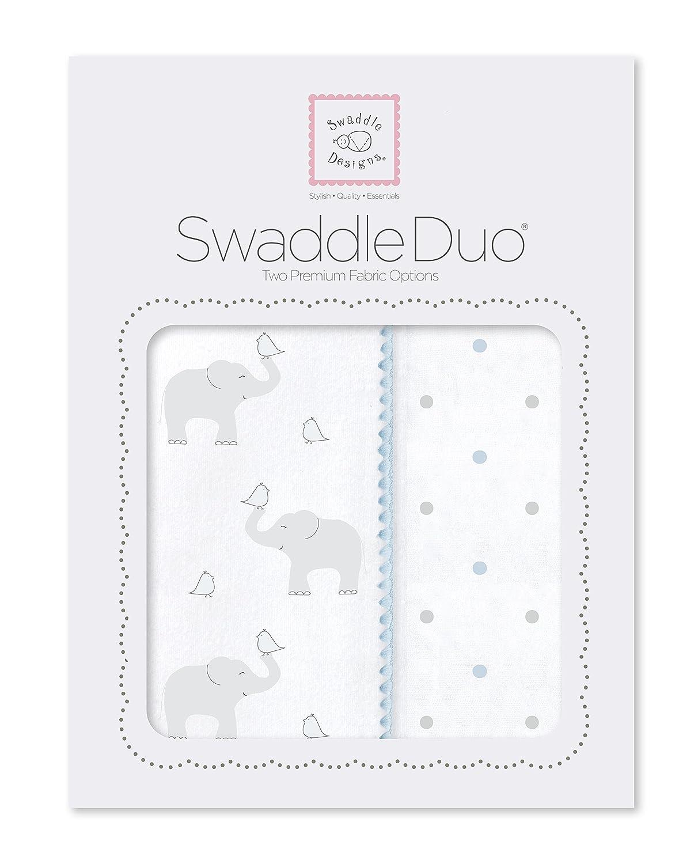 SwaddleDesigns SwaddleDuo, 2er Set, Baumwollmusselin und Baumwollflanell, Elefant und Küken, Pastellblau, 2er Set Elefant und Küken SD-461PB
