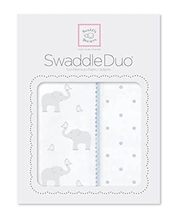 Pastel Pink Cotton Muslin Premium Cotton Flannel SwaddleDesigns SwaddleDuo Mod Elephant /& Chickies Set of 2
