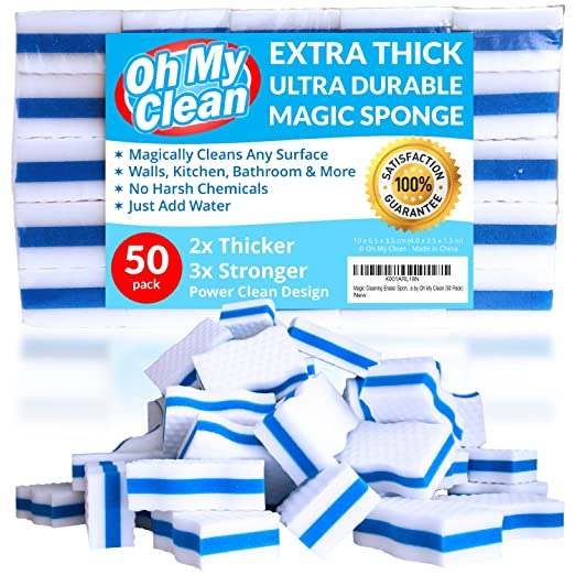 (50 Pack) Extra Durable Magic Cleaning Eraser Sponge - 2x Thick, 3x Stronger Melamine Foam Sponges - Multi-Purpose Power Scrubber - Bathroom, Kitchen, Floor, Toilet, Baseboard, Wall Cleaner