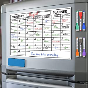 Scribbledo Magnetic Dry Erase Monthly Calendar Planner White Board Sheet for Refrigerator 11X17 Inch Whiteboard Magnet Includes 6 Fridge Markers and Eraser