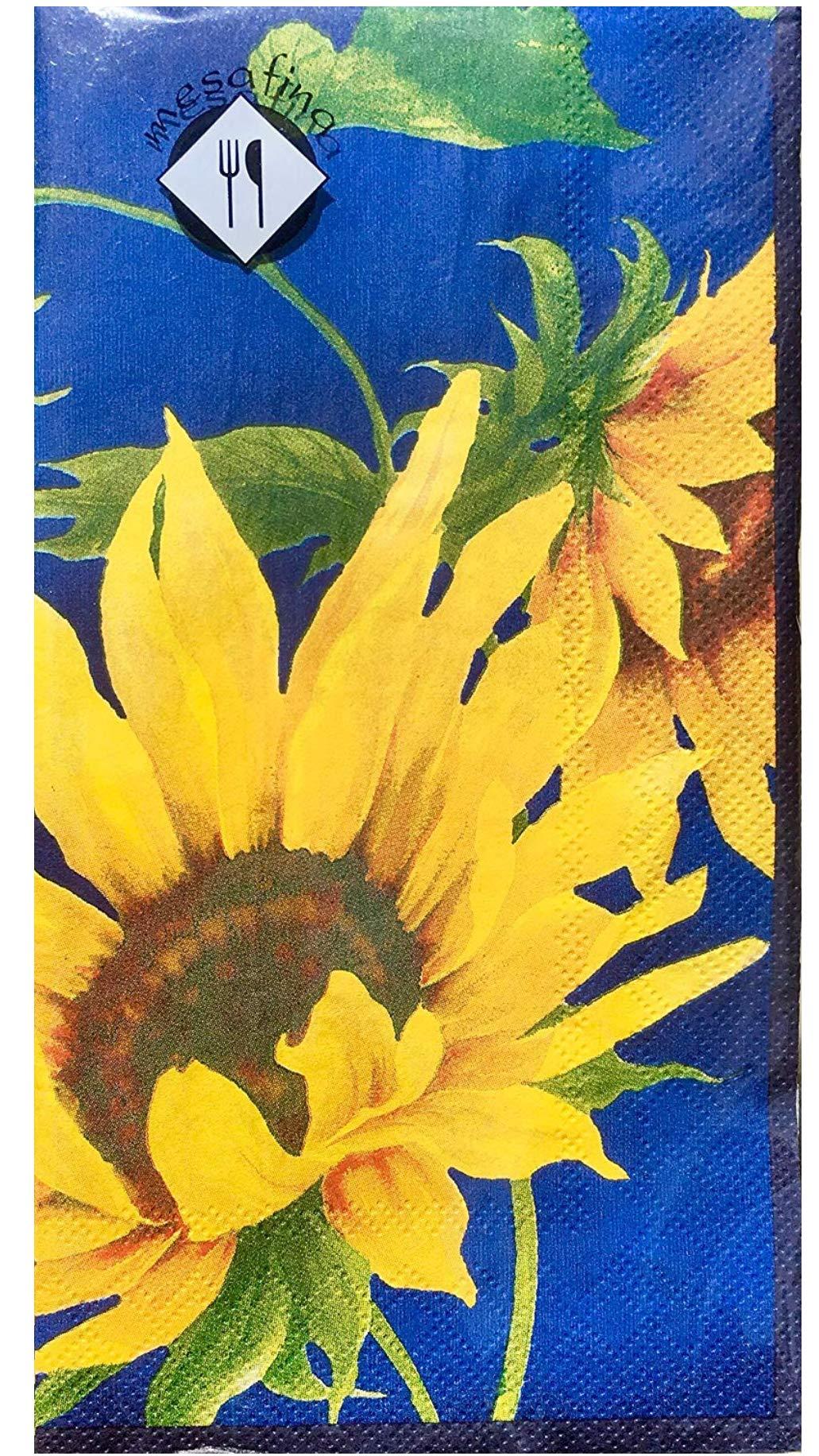 MesaFina Sunshine Blue Sunflower Guest Towels Buffet Napkins, 32 ct