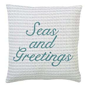 """VHC Brands Christmas Holiday Pillows & Throws - Arielle White Seas and Greetings Down 18"""" x 18"""" Pillow,"""