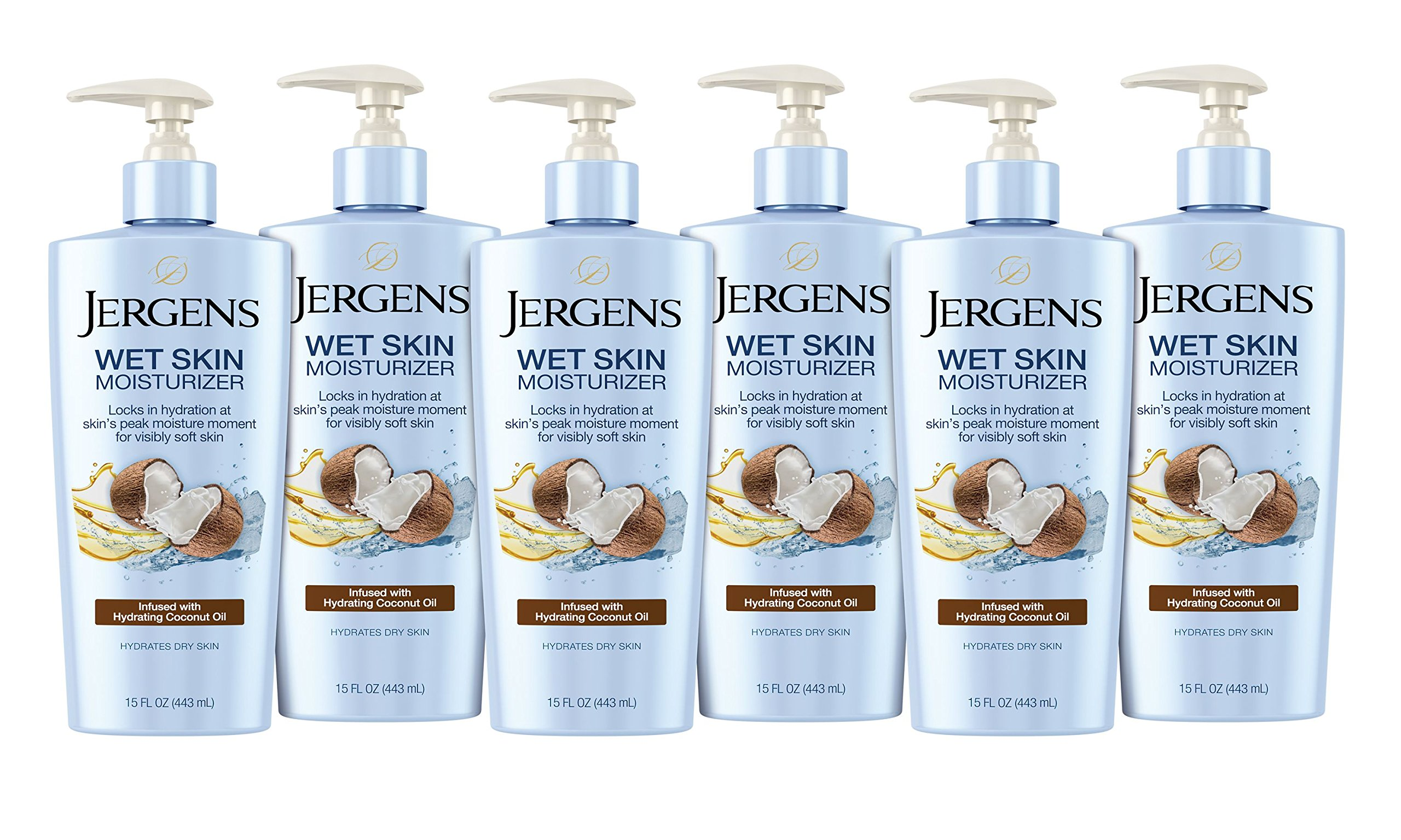 Jergens Wet Skin Body Moisturizer with Refreshing Coconut Oil, 15 Ounces (Pack of 6) (Packaging May Vary)