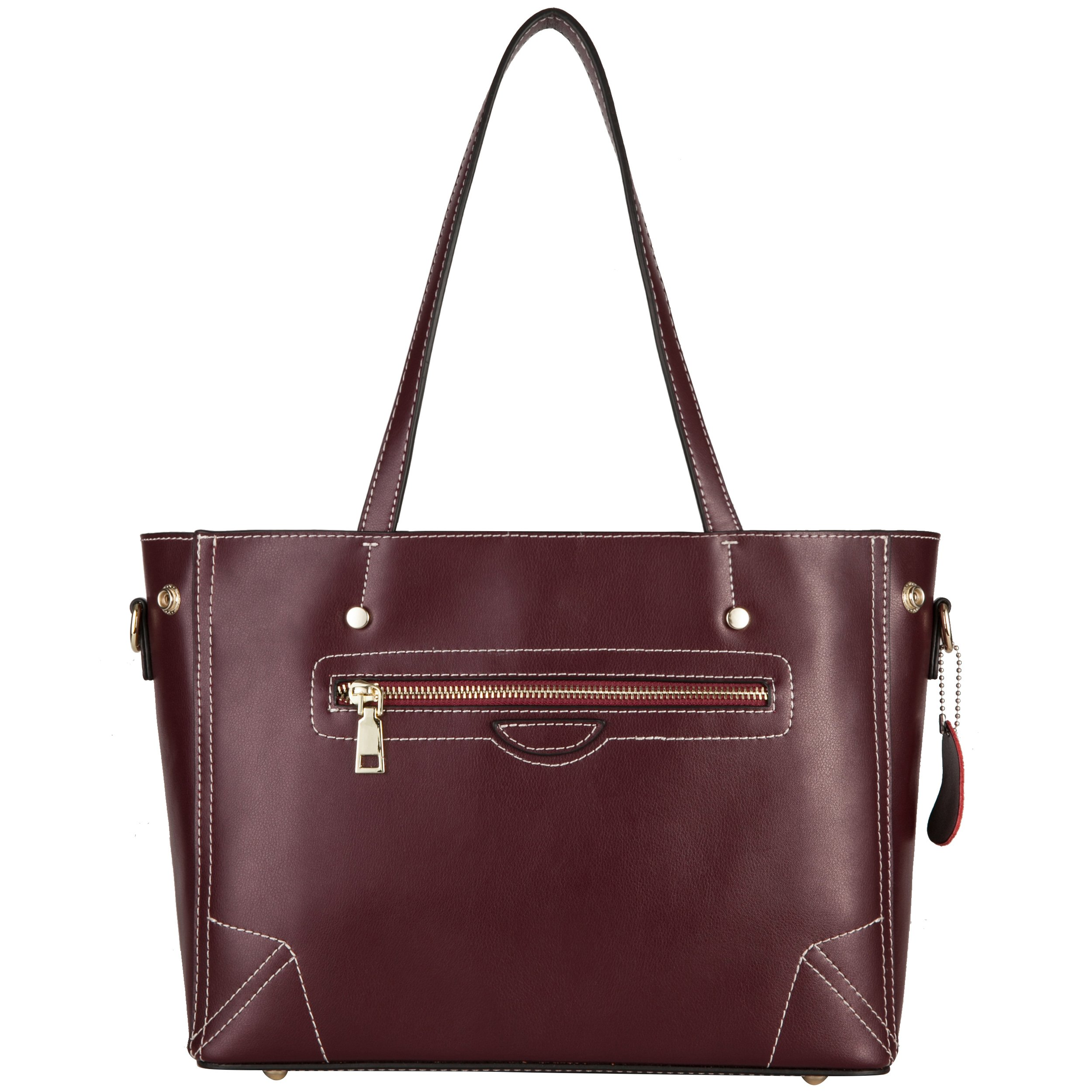 Yiwanda Handbags for Women in Genuine Leather Large Tote Bags Shoulder Bags (Wine Red)