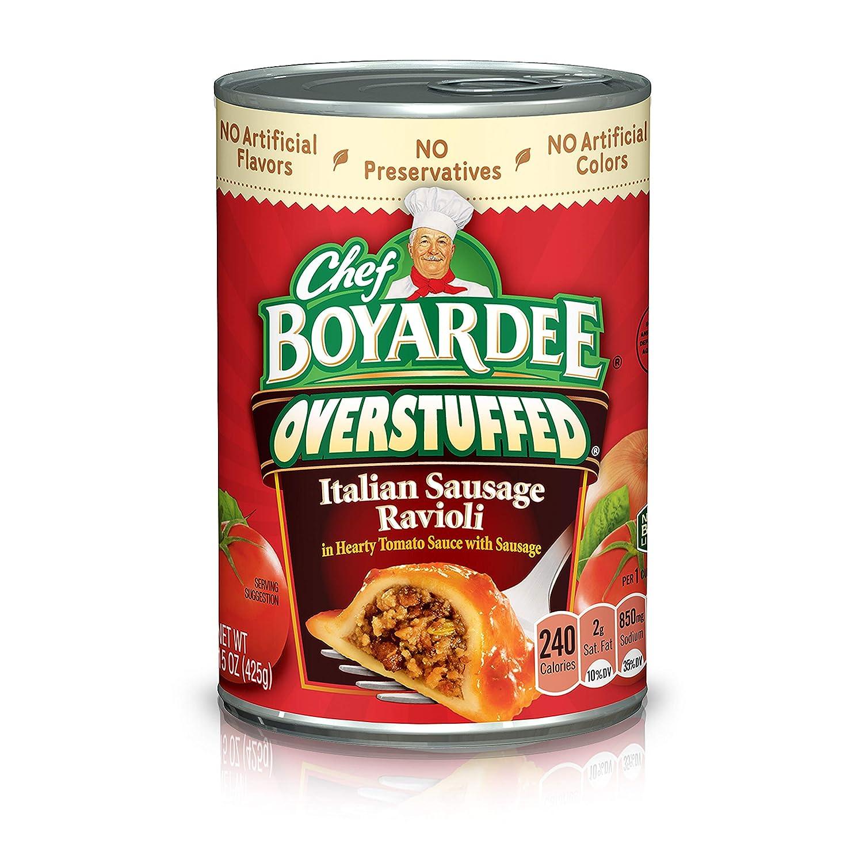 Chef Boyardee Overstuffed Italian Sausage Ravioli, 15 oz, 12 Pack