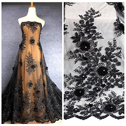 57a99acc3d61e Amazon.com: black handmade 3D flowers heavy beaded wedding dress ...
