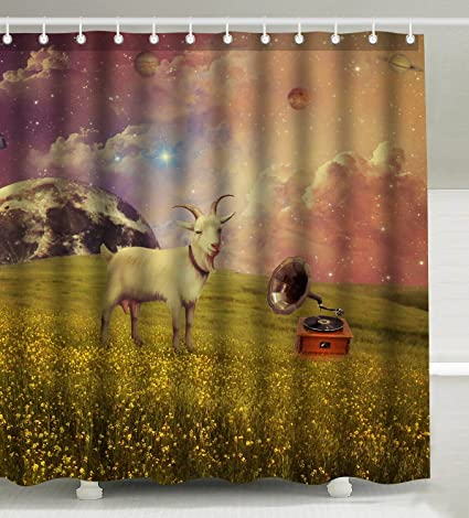 Wknoon 72 X Inch Shower Curtain Set Space Goat Galaxy Planets Background